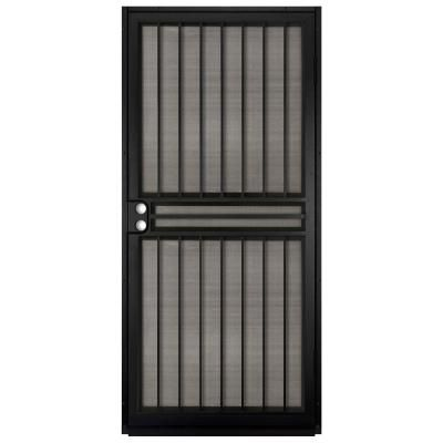 Unique Home Designs 36 in. x 80 in. Guardian Black Surface Mount Outswing Steel Security Door with Insect Screen-IDR10000362000 - The Home Depot