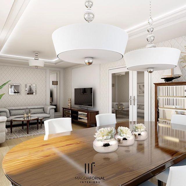 Pierwsze z trzech ujęć salonu, który zaprojektowałam dla pewego staraszego małżeństwa... młodego duchem  #interiordesign #livingroom #design #dining #mirror #furniture #glam #modern #classic #modernclassic #details #glosy #decorations #flowers #decor #diningroom #familyspace #home #homedecor #classy #comfy #shiny ☀️