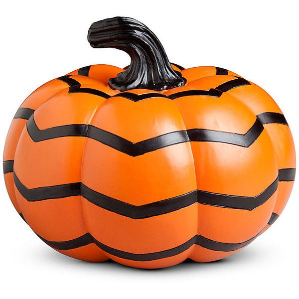 Improvements Chevron Halloween Pumpkin ($15) ❤ liked on Polyvore featuring home, home decor, holiday decorations, filler, artificial pumpkins, chevron halloween pumpkin, decorative pumpkins, faux pumpkins, halloween decor and halloween home decor