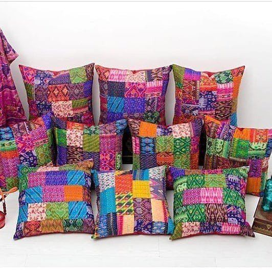 "5 PC Kantha Pillow Cover Couch Pillows Patchwork 16/"" Pillow Silk Cushion Cover"