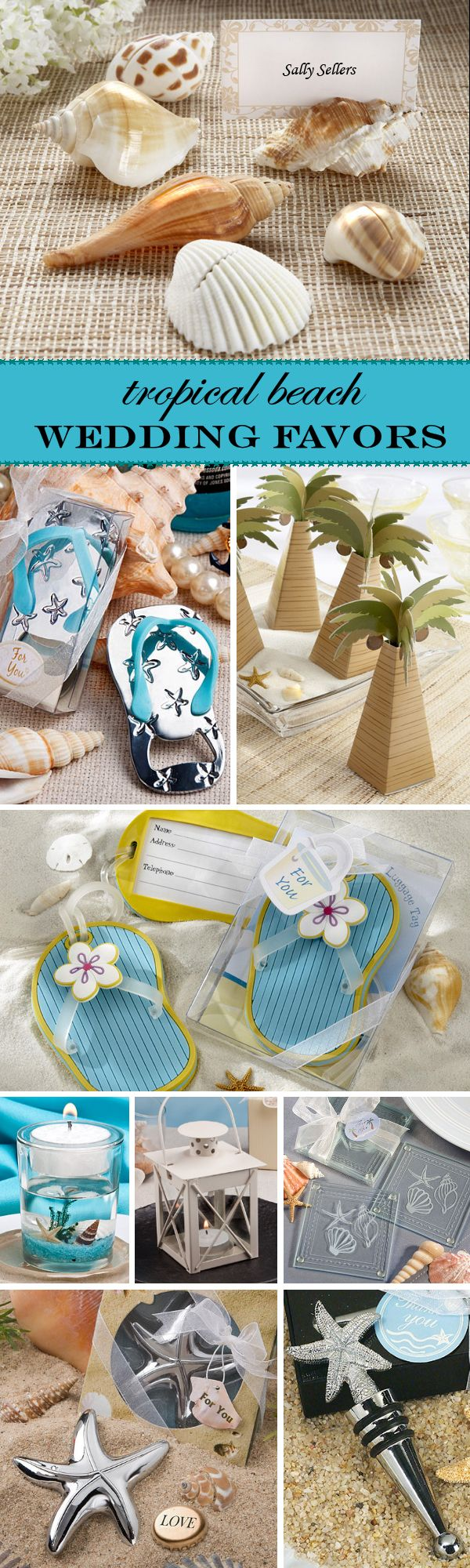 Amazing Tropical & Beach Themed Wedding Favor Ideas - love the flip flop luggage tags!
