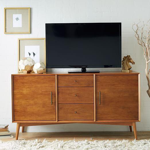 "$899 | West Elm Mid-Century Media Console - Large | 57"" L x 30"" H | eucalyptus wood and acacia wood veneer"