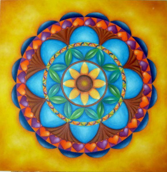 """""""Arbol de la Vida"""" Mandala,Óleo de 80x80"""