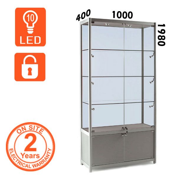 Silver Aluminium Trophy Cabinet with lockable storage and lockable glass doors. All the glass is toughened for safety and comes with LED lights.