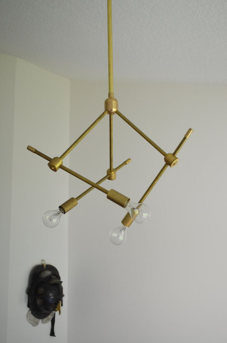 Modern Solid Brass Light Fixture Hanging By