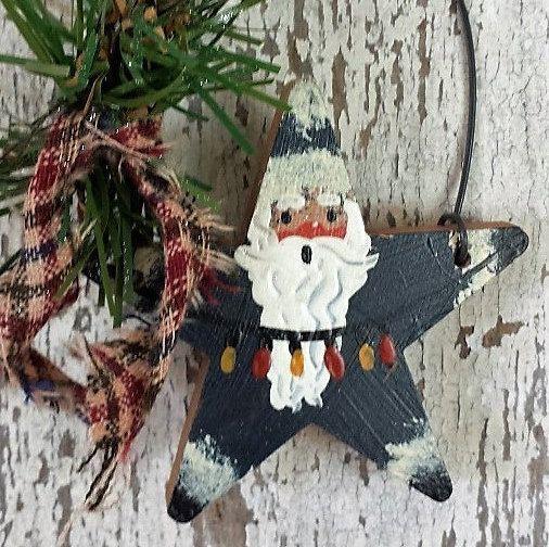 Père Noël ornement, à la main peint Santa, ornement de pays, père primitif, pays Santa, ornement victorien, ornement primitif, peint le père Noël