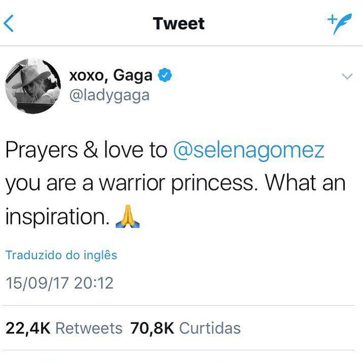 """Linda a mensagem de @ladygaga para  @selenagomez ❤️ """"Orações e amor à Selena Gomez. Você é uma princesa guerreira. Que inspiração"""". As duas estão passando por momentos delicados... Gaga luta contra dores causadas pela fibromialgia e Sel passou, recentemente, por um transplante de rim. Amamos essas mulheres e estamos na torcida 🙏🏻"""