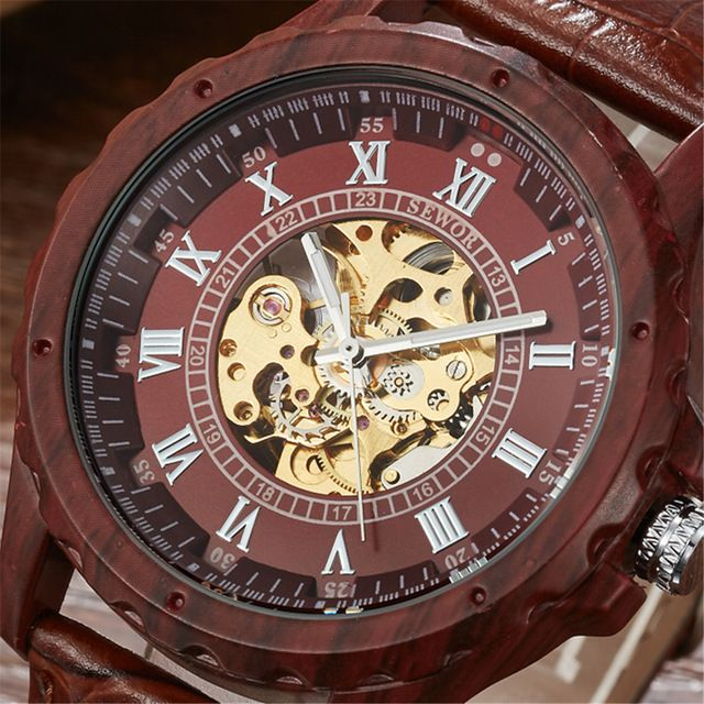 Special price 2017 Fashion SEWOR Men Luxury Roman Number Wood Colours Leather Skeleton Military Watch Automatic Mechanical Wristwatches Gift just only $15.99 with free shipping worldwide  #menwatches Plese click on picture to see our special price for you