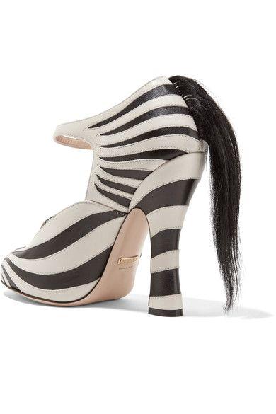 Gucci - Goat Hair-trimmed Leather Pumps - Zebra print - IT40