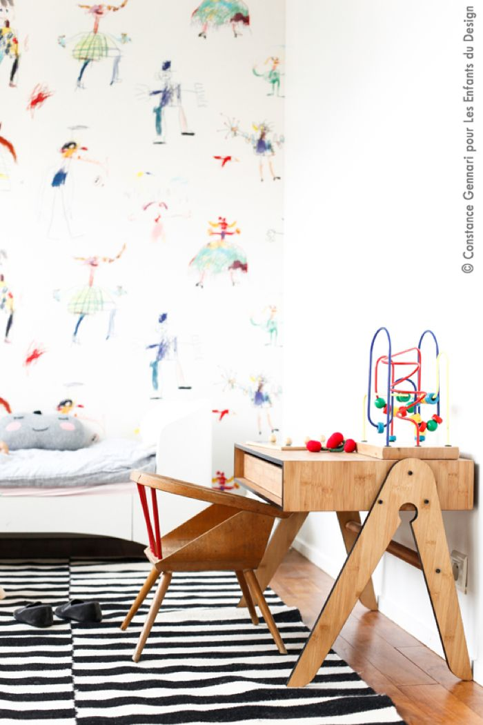 perfect little one's desk, Pierre Frey wallpaper