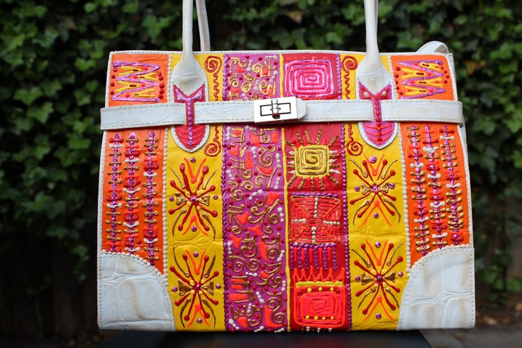 Leather ARTbag! Just 1! Wear art.   Title; Summer passion