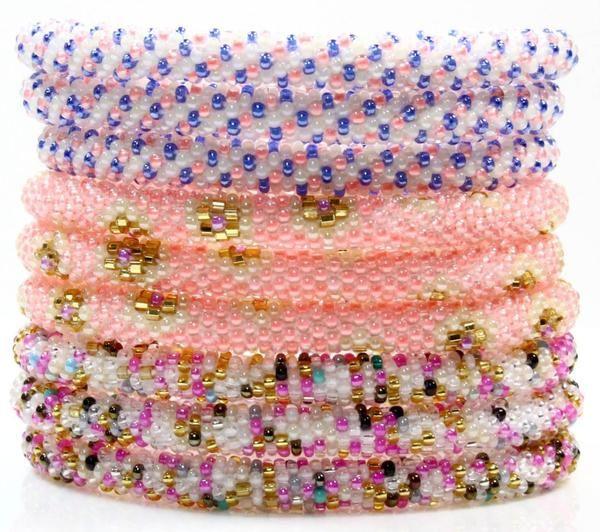 Nepal Bracelet Stack 12 - LOTUS SKY: Beaded Roll On Bracelets Handmade in Nepal