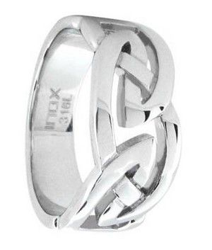 Intricate twists and turns give this modern interpretation of the Celtic Knot a designer look. This lively yet masculine Mens Celtic Ring is a substantial 9mm wide and is made of 316L polished stainless steel.
