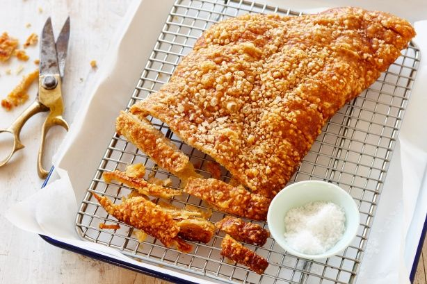 Crunchy pork crackling is a popular side dish. Remember to make enough for the cook to enjoy as well.
