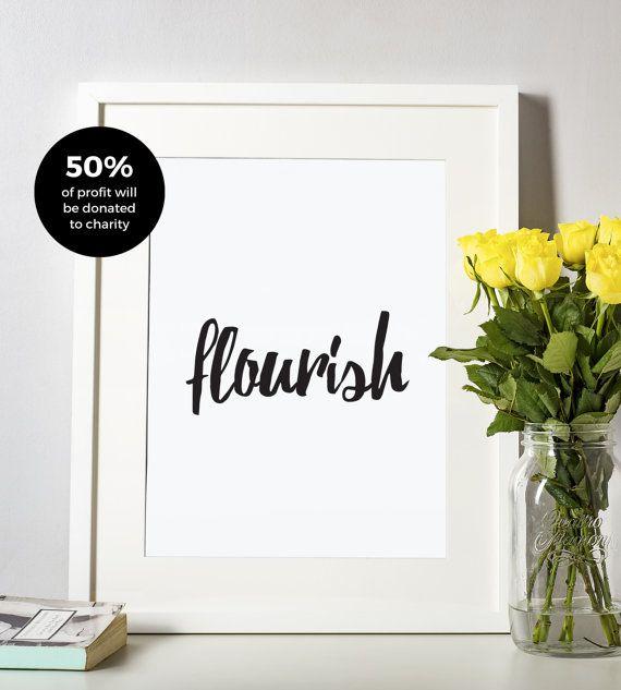 Flourish Typographic Print, Black and White Art, Home Decor, Modern, Monochromatic, Minimal Design, Inspire, A4 Poster
