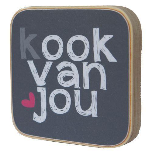Zoedt Houten tekstblok Kook van jou
