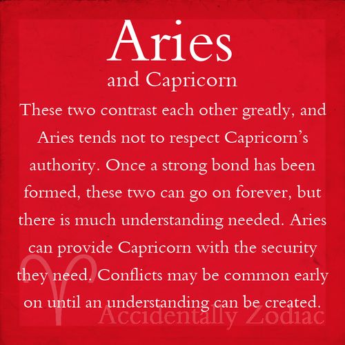 Aries and Capricorn - ironically, these are my Sun and Moon signs.  Explains alot......