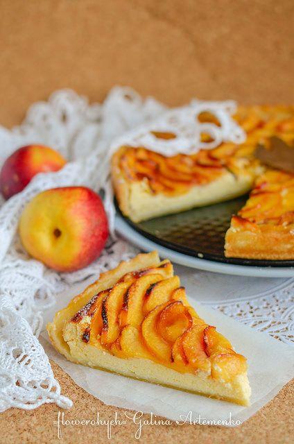ricotta and nectarines pie, фруктовый пирог с рикоттой рецепт, пирог с рикоттой рецепт