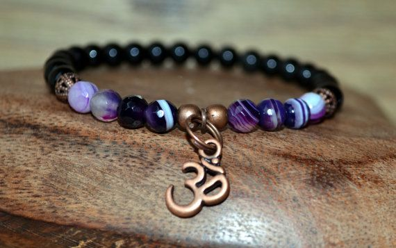 Obsidian bracelet with Agate for protection from negativity focus creativity and energy! Om bracelet Healing bracelet yoga bracelet energy