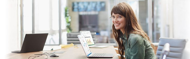 Homepage image from the Microsoft office website. Lady sitting at computer desk.  #micosoft #office