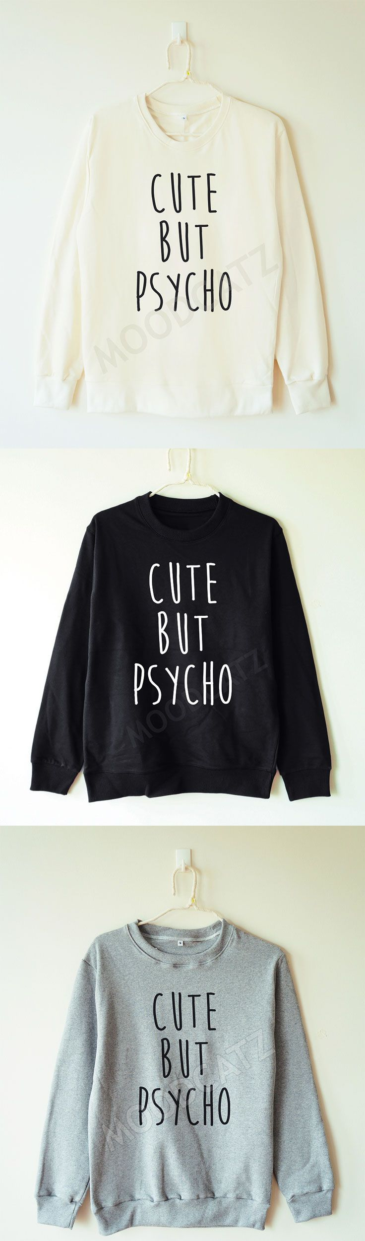Cute But Psycho, Graphic Sweatshirt, Pastel Goth, Modern Grunge, NuGoth Fashion, Goth Girl Style