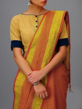 Red-Yellow Andhra Cotton Saree - love the blouse