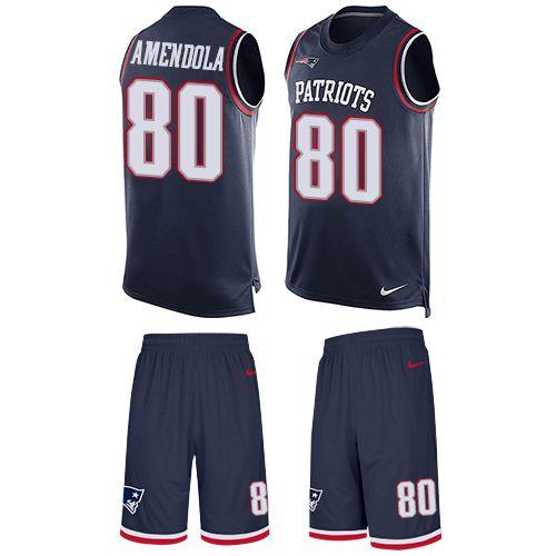 Nike New England Patriots Men's #80 Danny Amendola Limited Navy Blue Tank Top Suit NFL Jersey