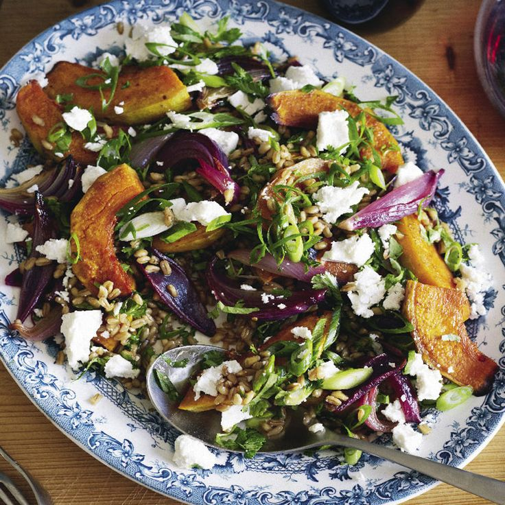 farro, roasted pumpkin, and red onion salad
