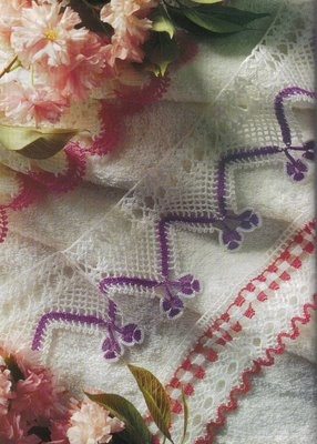 White and purple crochet lace with diagram