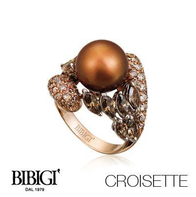 #Bibigi   Collezione #Croisette   Anello in oro rosa, perle chocolat, diamanti brown e diamanti