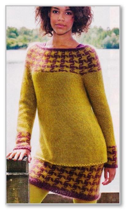 Вязание спицами. Пуловер с круглой кокеткой и мини-юбка, с двухцветным жаккардовым узором. Размеры: 36/38 (40/42) 44/46