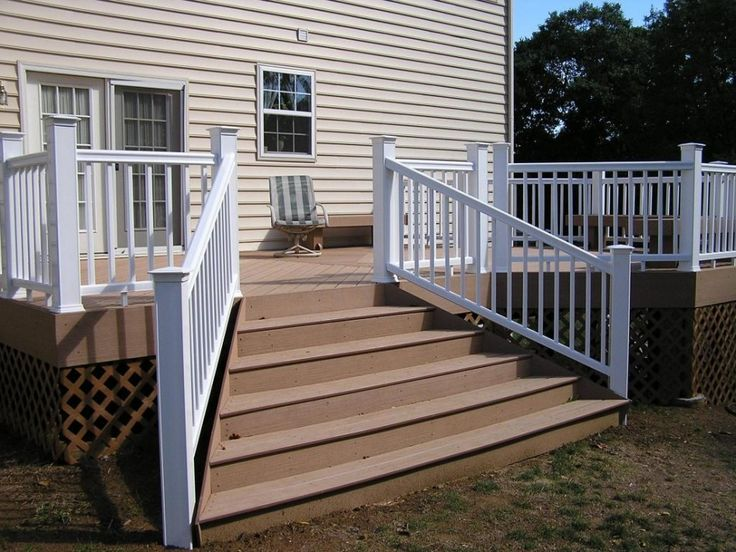 Exterior:Exterior Astounding Deck With Stair Design For Exterior Decoration Design With Open Stair Light Brown Wood Step White Wood Handrail...
