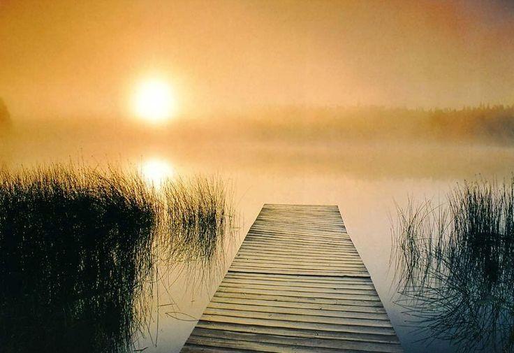Красивый рассвет на берегу реки. Галерея фото