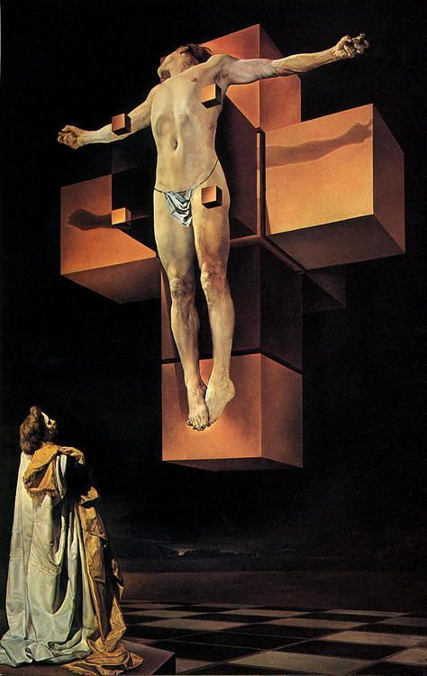 Salvador Dali (1904-1989) Crucifixion (Corpus Hypercubus) is a 1954 oil-on-canvas painting by Salvador Dali which depicts the Crucifixion of Jesus, though it deviates from traditional portrayals of the Crucifixion by depicting Christ on the polyhedron net of a hypercube and adding elements of Surrealism. It is one of his most well known paintings from the later period of his career. #DALI: