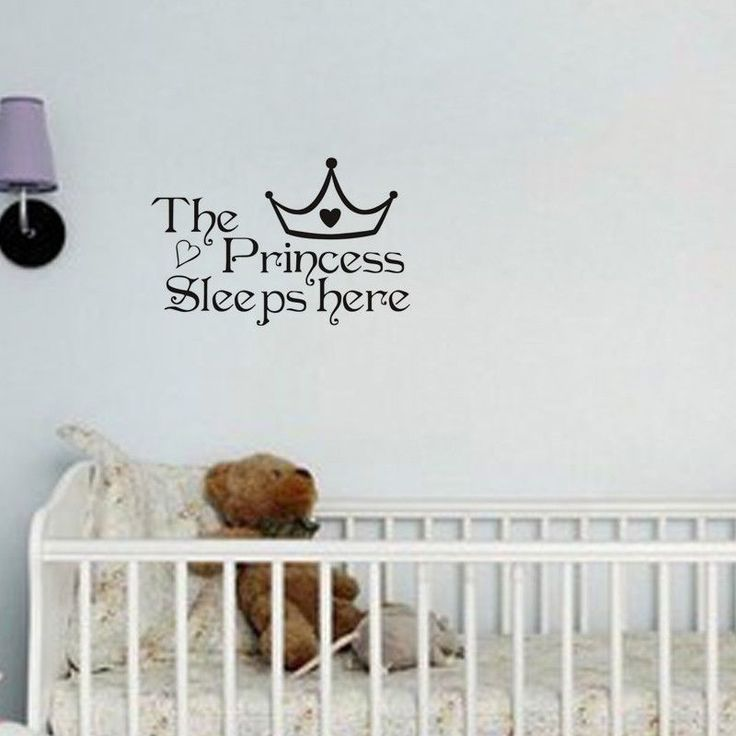 Pretty The Princess Sleeps Here - Wall Say Quote Word Lettering Sticker Decor
