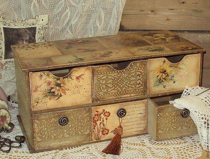 "Mini-dressers handmade.  Fair Masters - Large handmade mini chest of drawers ""Lace memories.""  Handmade."
