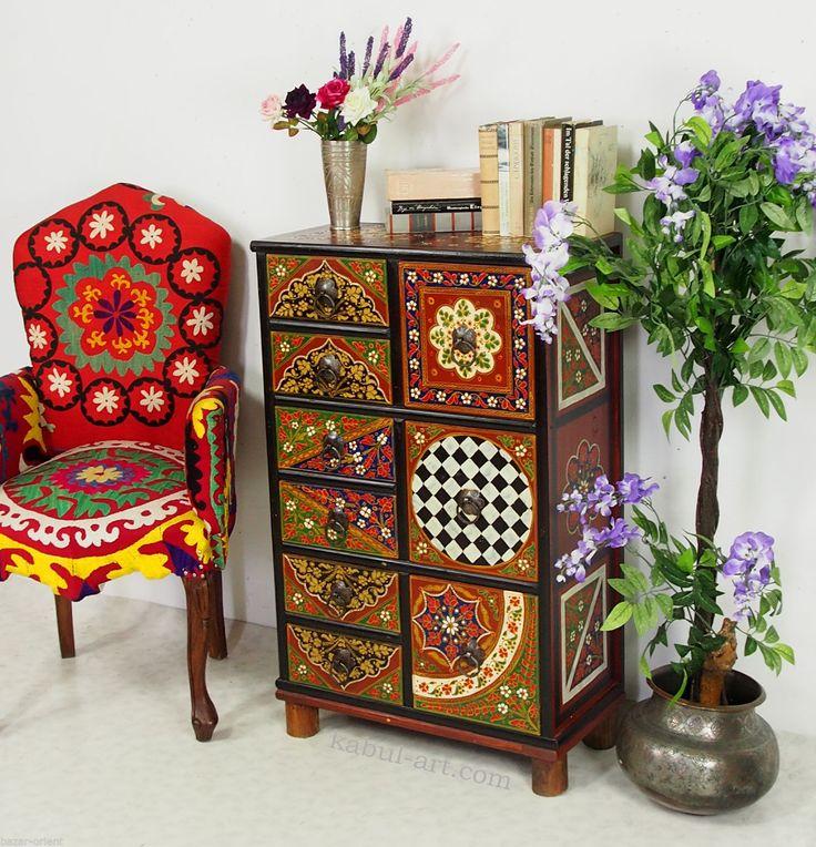 Handbemalte Massiv Holz Orientalische Kommode Schrank Cabinet Cupboard MGL2