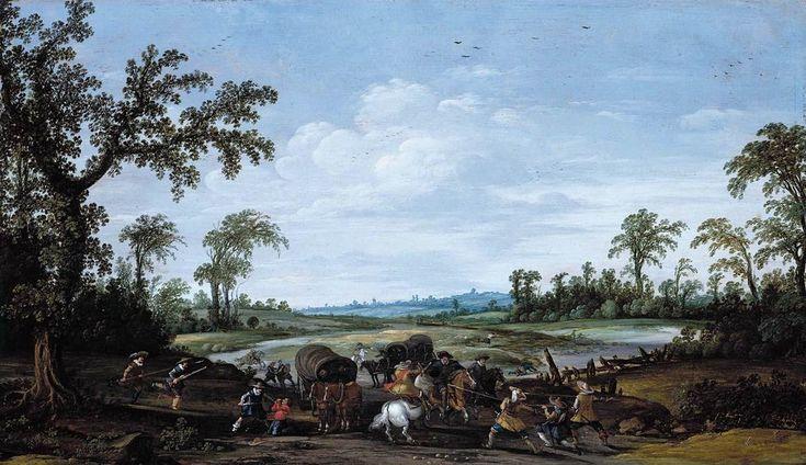 Esaias van de Velde - Bandieten vallen een caravan reizigers aan