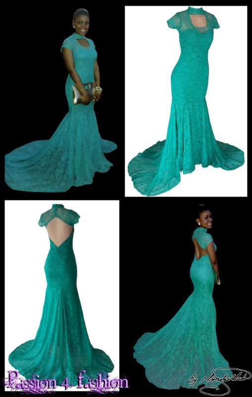 Teal green full lace soft mermaid matric dance dress with sheer neckline and sheer cap sleeves. With diamond shaped open back. Choker neckline with a rounded opening. Suitable not only for a matric dance but also a Grade 7 Farewell Dress.