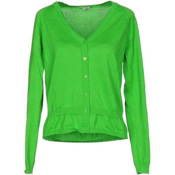 Pinko Cardigan ($115) ❤ liked on Polyvore featuring tops, cardigans, green, green cardigan, green long sleeve top, cardigan top, long sleeve tops and lightweight cardigan