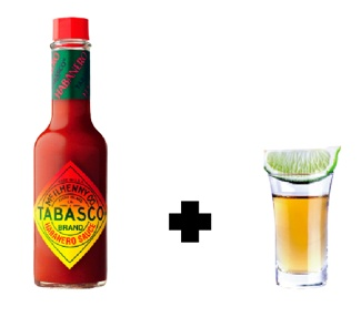 Mexican Sweat      Down a shot glass full of habanero pepper sauce and chase it with a shot of tequila. Suck on a lime and then die. If this is what Mexican sweat actually tastes like, remind me to not lick a luchador anytime soon.