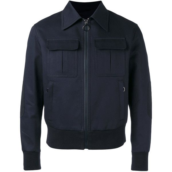 Neil Barrett military jacket (3.150 BRL) ❤ liked on Polyvore featuring men's fashion, men's clothing, men's outerwear, men's jackets, blue, mens military style jacket, mens military field jacket, mens zipper jacket, mens blue bomber jacket and mens zip jacket