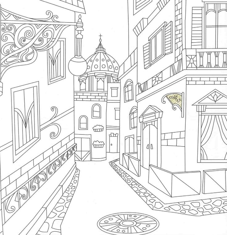 369 best architecture coloring pages for adults images on