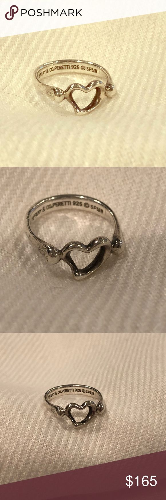 Tiffany & Co 925 Sterling Silver Ring Tiffany Elsa Peretti Open Heart Ring size 5  Brand: Tiffany & Co.  Gender: Womens  Condition: Excellent  Metal: 925 Sterling Silver  Weight: 2.3 grams  Hallmark: .925, Tiffany & Co., Spain, copyright symbol Tiffany & Co. Jewelry Rings