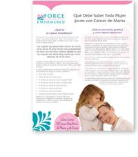 Que cada mujer joven con cáncer de mama debe saber:  What Every Young Woman with Breast Cancer Should Know brochure in Spanish.