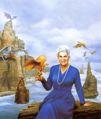 """Author of the Pern series, Anne McCaffrey surrounded by some of her """"friends"""".  Pern Museum Art Gallery - Official Art - Rowena Morrill"""