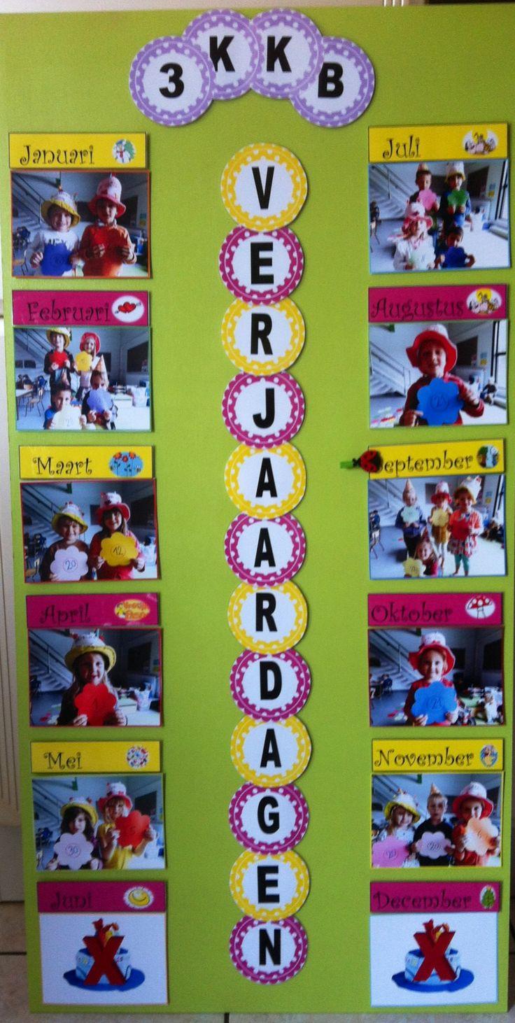 Verjaardagskalender, kinderen met leuke/gekke verjaardag attributen op de foto…