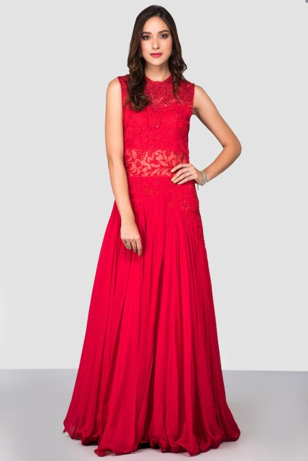 the-style-loft-by-ritu-deora-red-embroidered-gown-with-high-neckline