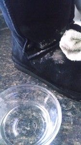 To clean dirt and salt off of suede make a small bowl of equal parts warm water and vinegar. Use a clean cotton towel to wipe the shoe clean...