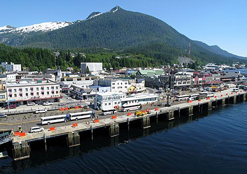 "Spend day three of our Alaskan cruise in KETCHIKAN, ALASKA, ""the salmon capital of the world."" Enjoy zip-lining, hiking or riding in a float plane during your overnight stay."
